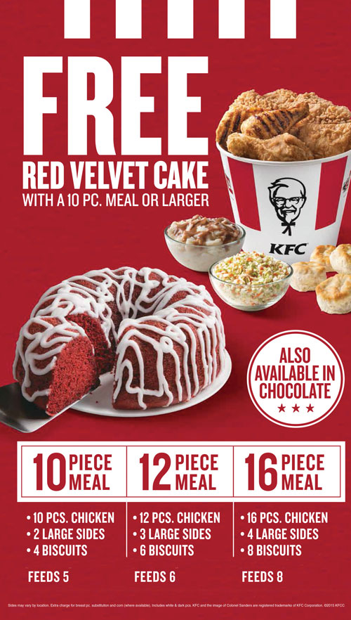 Free Red Velvet Cake with a 10 PC. Meal or Larger