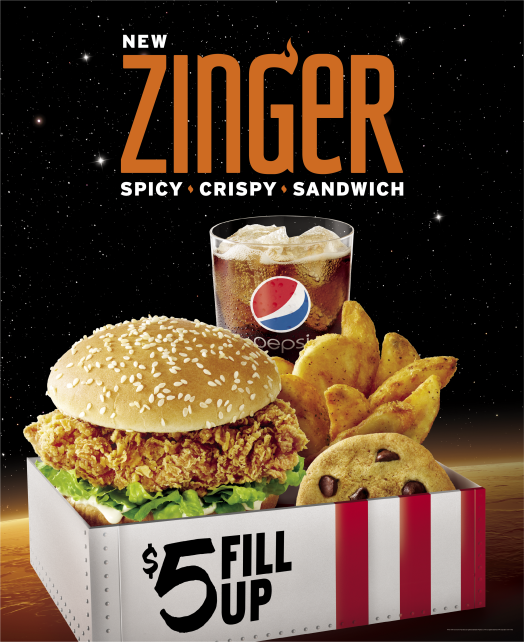 New Zinger Spicy, Crispy, Sandwich.